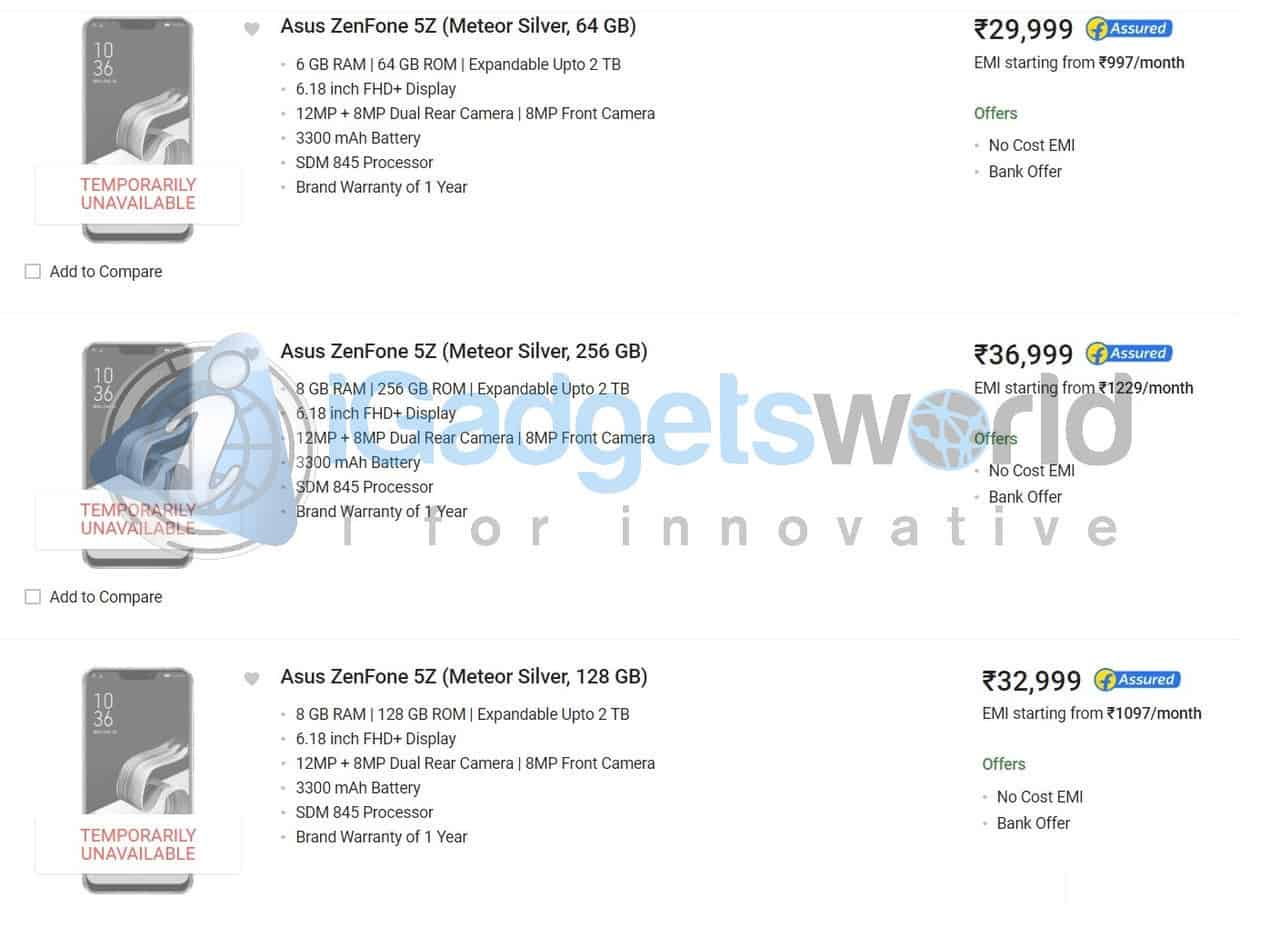 ASUS Zenfone 5Z Prices Leaked Ahead Of Launch - 5