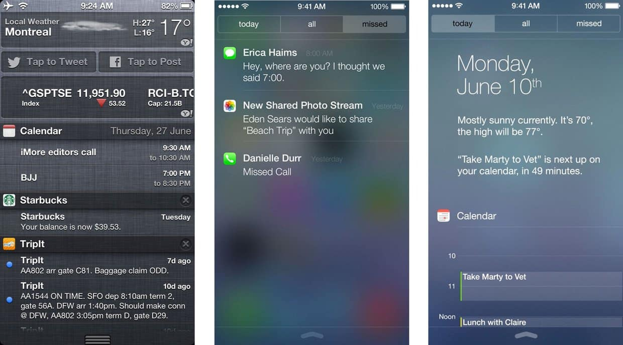 iOS7 Notification Center