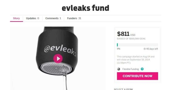 TkTechNews started a campaign to get $100,000 for @evleaks - 1