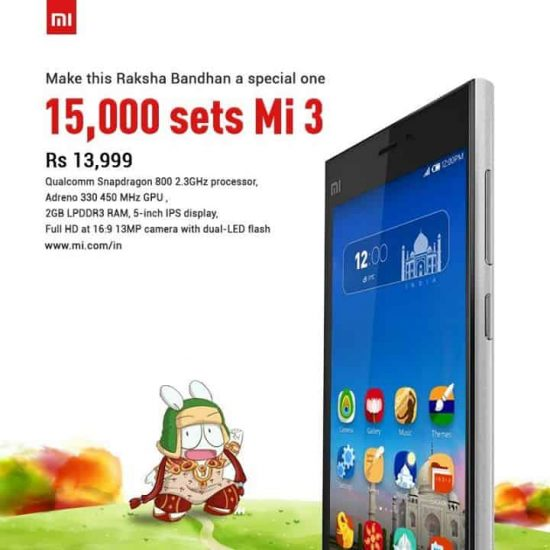 Xiaomi to put 15000 Mi3 handsets for sale this August - 1