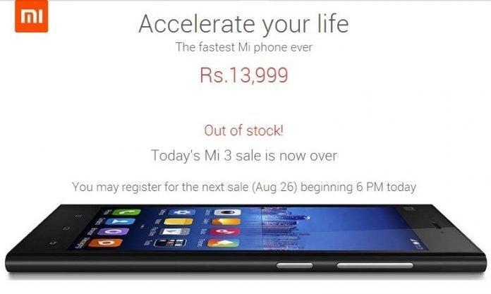 Xiaomi Mi3 stock sold out in 2.3 seconds on Aug 19th, next sale on August 26th - 2