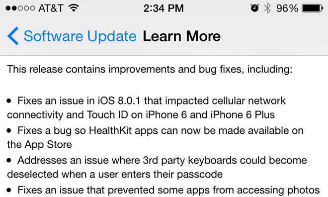 ios 8 bug fixes