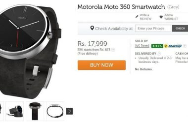 Buy Motorola Moto 360: Limited stock available on Flipkart for Rs. 17,999/- (Sale is live Now) - 3