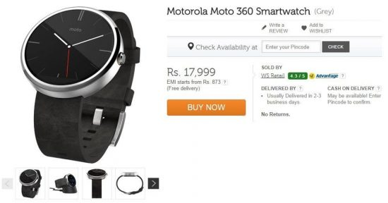 Buy Motorola Moto 360: Limited stock available on Flipkart for Rs. 17,999/- (Sale is live Now) - 1