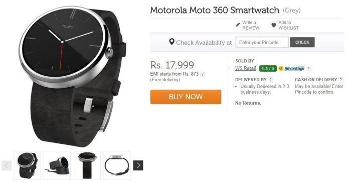 Buy Motorola Moto 360: Limited stock available on Flipkart for Rs. 17,999/- (Sale is live Now) - 2