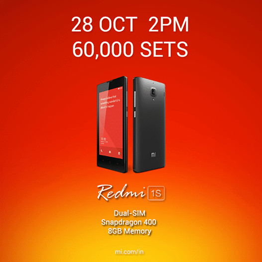 Xiaomi Redmi 1S 9th flash sale on Oct 28th: 60,000 Redmi 1s units to go on sale today from Flipkart - 1