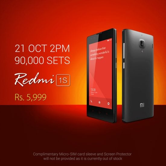 Xiaomi Redmi 1S 8th Sale On Oct 21st: 90,000 Redmi 1s units to go on sale today from Flipkart - 1