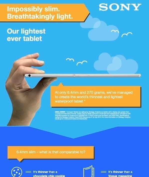 Sony Xperia Z3 Tablet compact:World's slimmest waterproof Tablet[Infographic] - 2