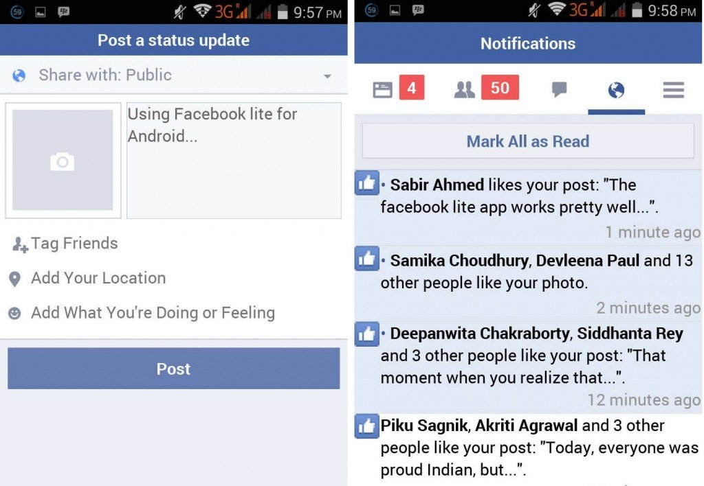 FacebookLite_StatusUpdate and Notifications