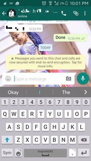 WhatsApp Messenger End to End encryption - Screenshot showing secure
