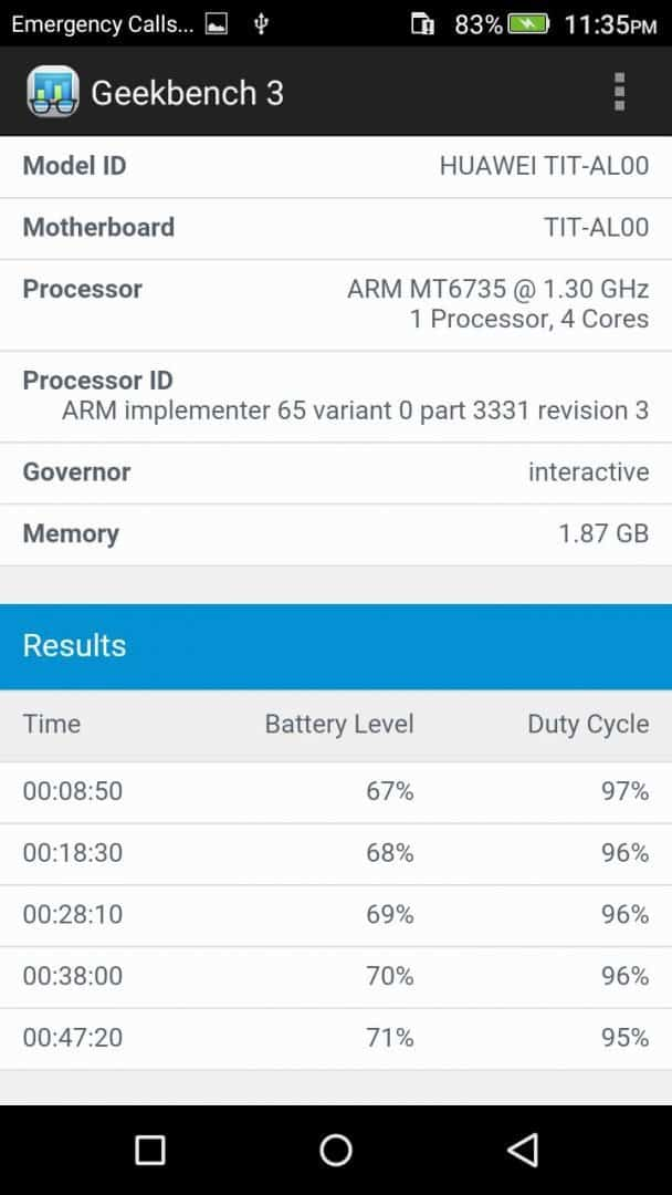 Honor Holly 2 Plus - GeekBench 3.0 Scores - 2