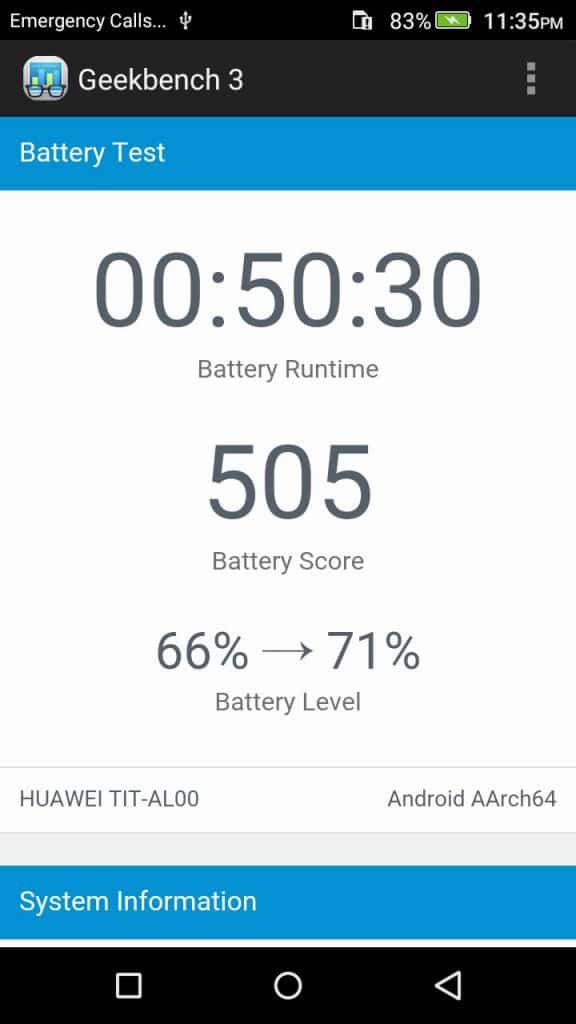 Honor Holly 2 Plus - Geekbench- Battery Test