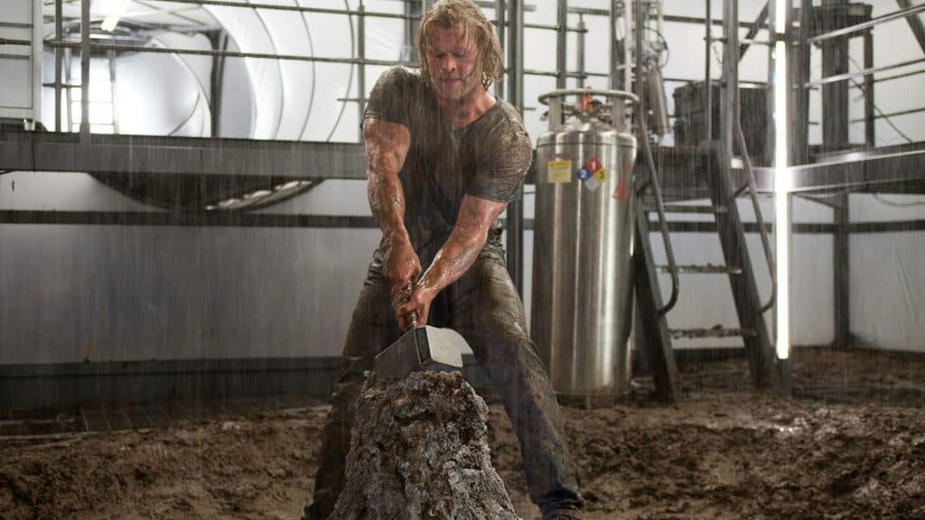 Thor lifting Mjolnir