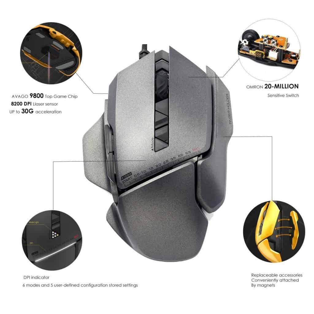 jamesdonkey 007 modular gaming mouse - features