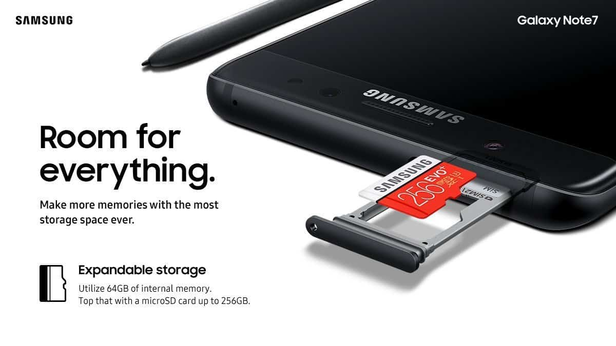 Samsung Galaxy Note 7 Storage