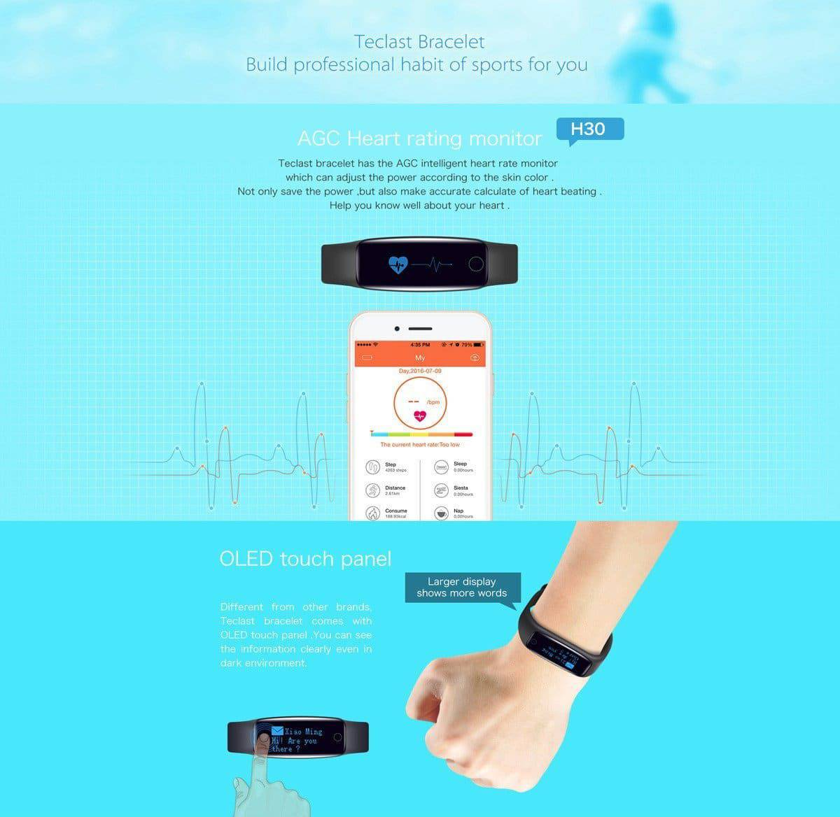 Teclast H30 Smart wristband_heart rate