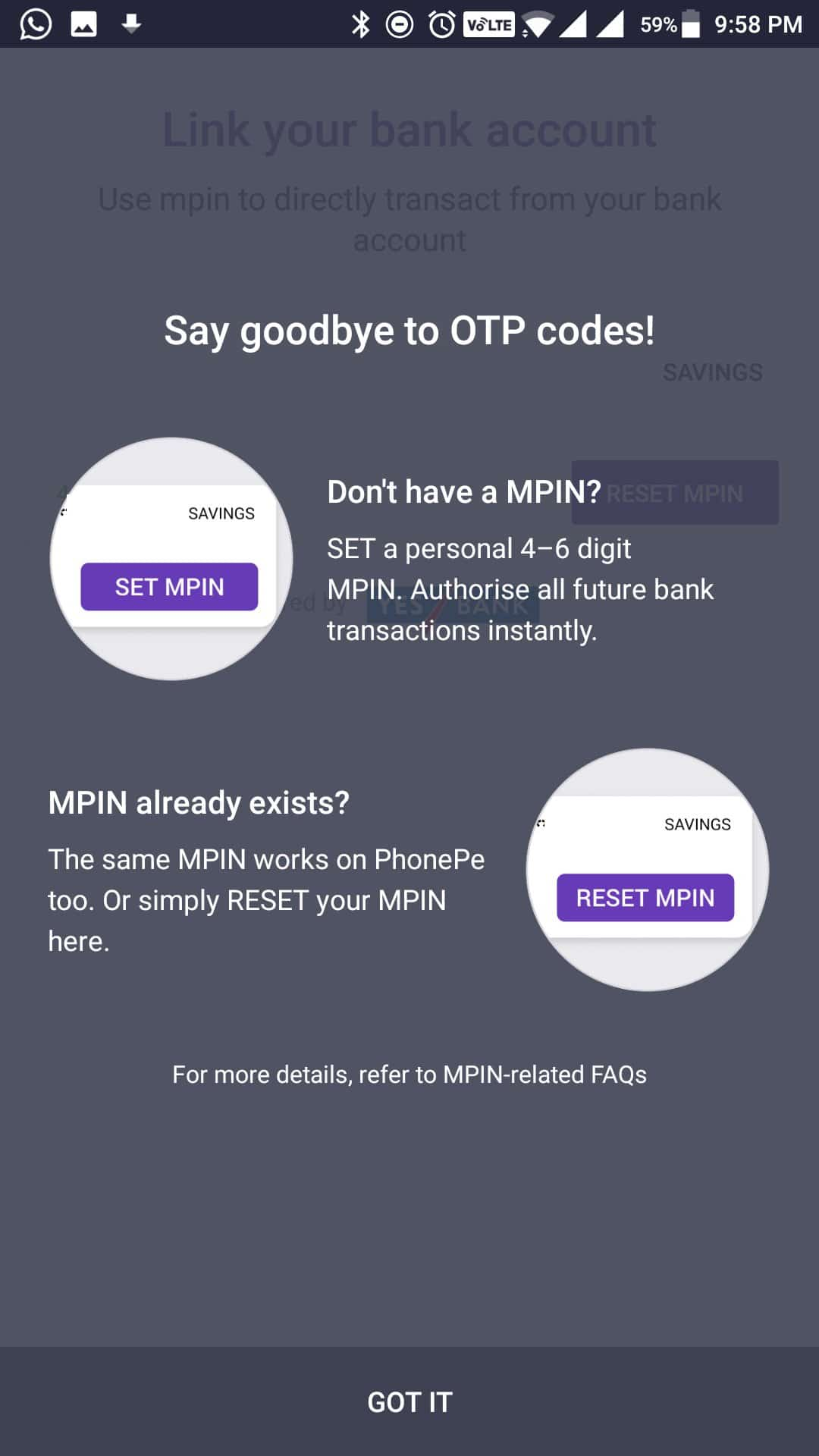 PhonePe - Set Mpin for your bank