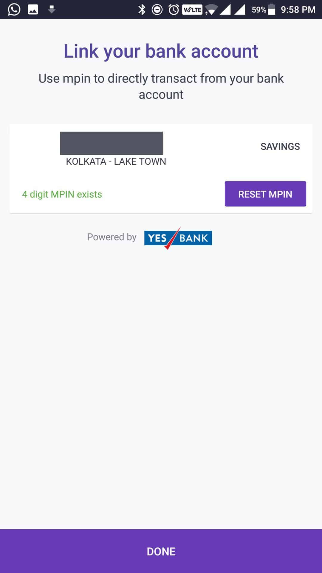 PhonePe - Link your bank account