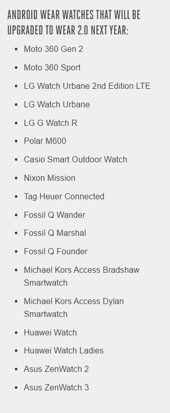 Android 2.0 supported smartwatches