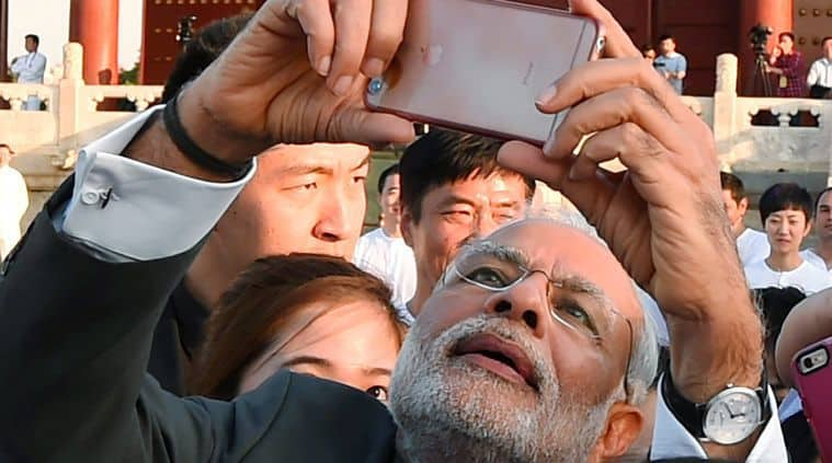 Prime Minister of India, Narendra Modi is also known for taking selfies during trips and meetings